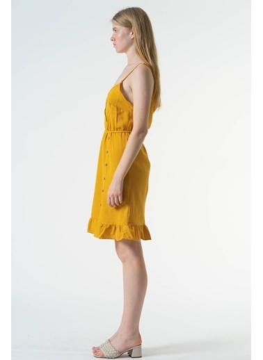 Reyon Askılı Bel Lastikli Günlük Keten Elbise Bej Hardal
